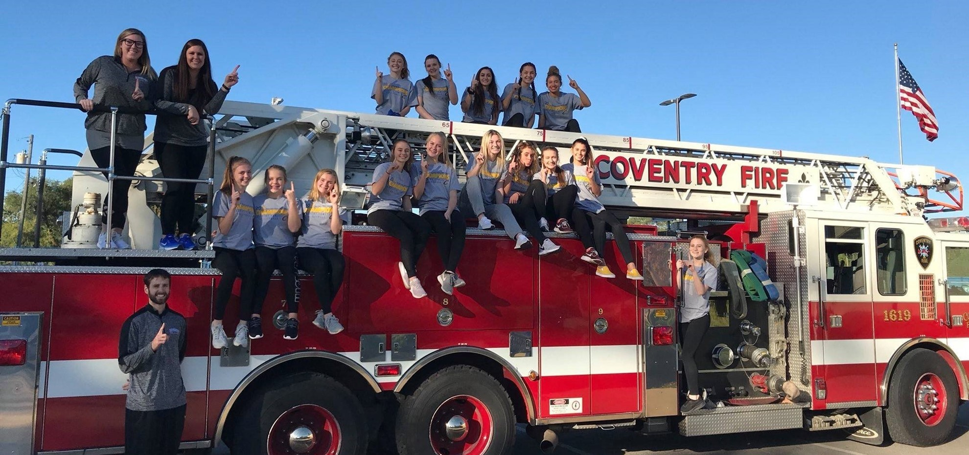 Volleyball on Fire Truck